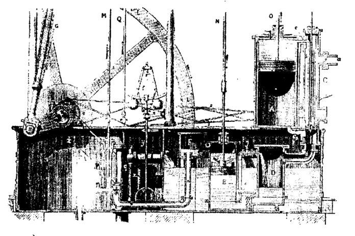 Фрагмент креслення машини Уатта і Болтона. 1783 р.