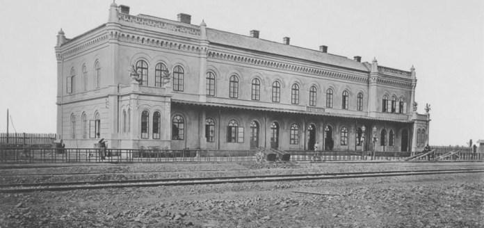 Залізничний вокзал у Красному. Фото кінця ХІХ ст.