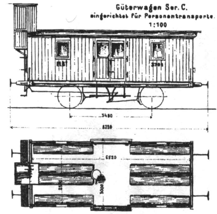 Креслення пасажирського вагона IV класу, переробленого із товарного