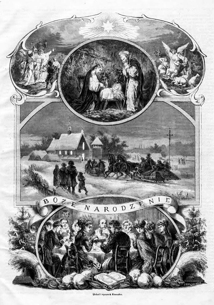 Рисунок Юліуша Косака (1824–1899) на тему Різдвяних Свят у Галичині, опублікований у 1868 році у тижневику «Tygodnik Ilustrowany»