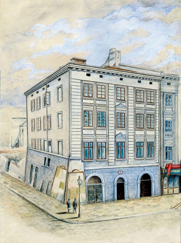 Франциск Ковалишин. Будинок на пл. Ринок, 11, розібраний 1899 р. Папір, акварель; 21 х 35, 5 см