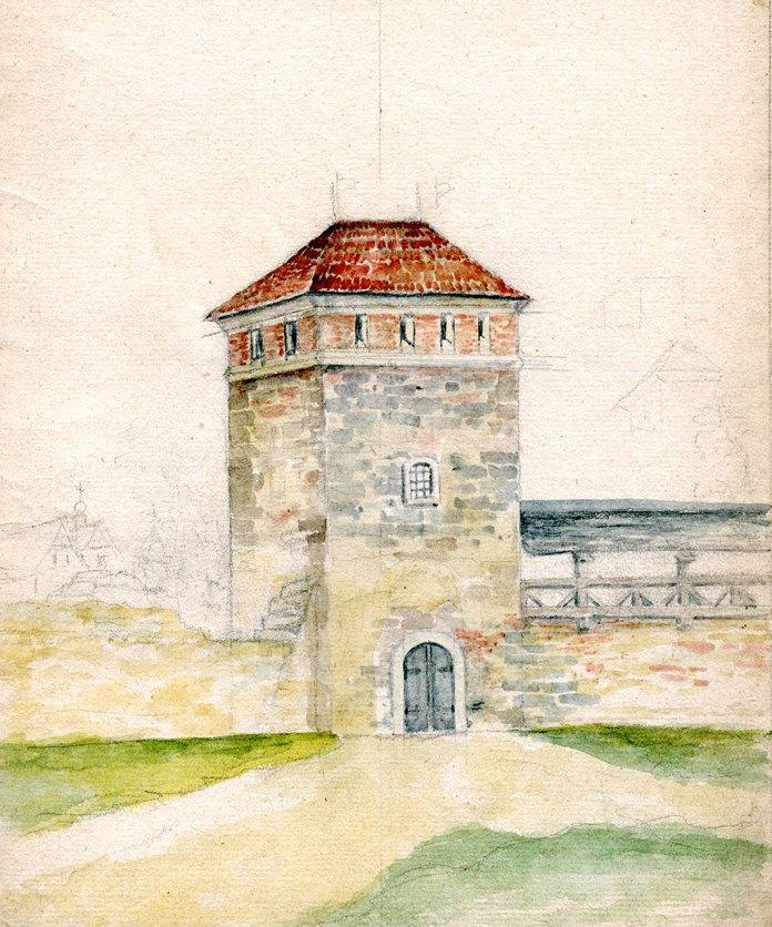 Франциск Ковалишин. Вежа крамарів. Кінець ХІХ - початок ХХ століття. Папір, акварель.