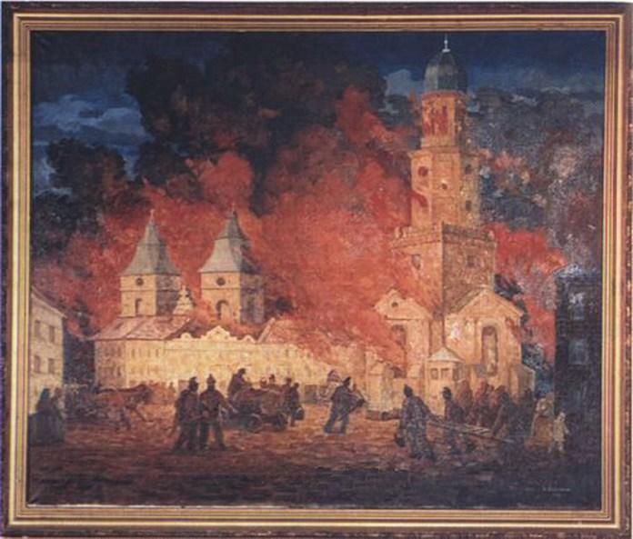 Пожежа у Станіславові 1868 року очима художника М. Варенні