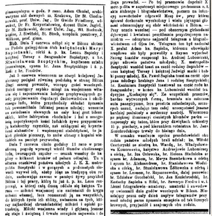 Опис весілля Станіслава і Марії з Сапігів Шептицьких у польськомовній пресі («Czas». — № 133. — 12 червня 1906 р. — C. 3)