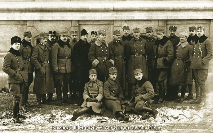 Команда ІІІ Корпусу УГА в Стрию, січень 1919 року