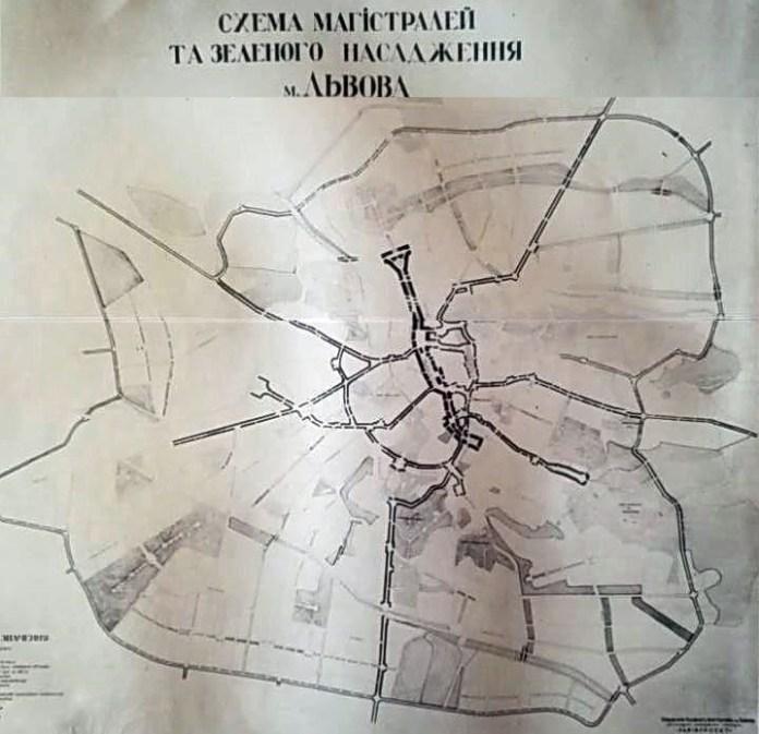 Схема магістралей та зеленого насадження м. Львова