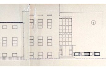 Фасад кравецької гімназії в Луцьку з проекту Яна Реди