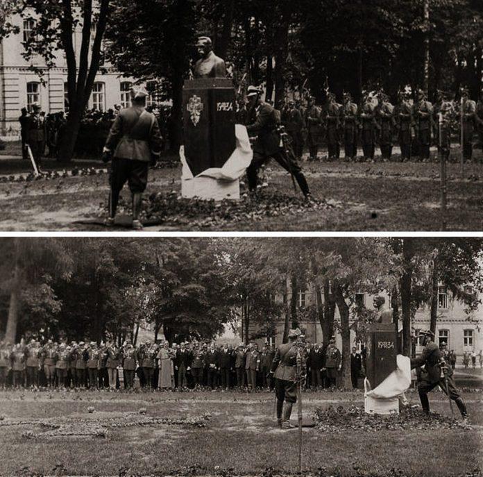 Відкриття пам'ятника Пілсудському в сквері неподалік Будинку жовніра, 1934 рік