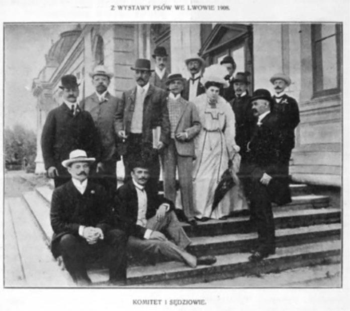 Фотографія з виставки собак у Львові (1908 р.): організаційний комітет та судді