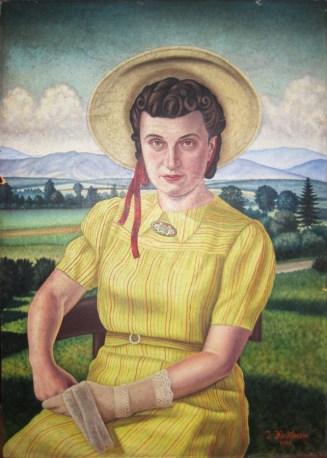 Іван Кейван. Дружина Марія в жовтій сукні. Коломия, 1943