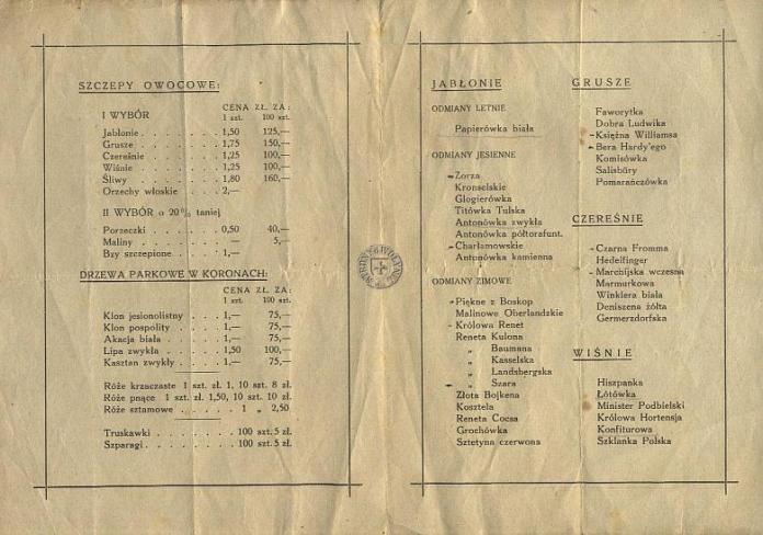 Цінник на висаджені на Гірці дерева 1935-36 рр.