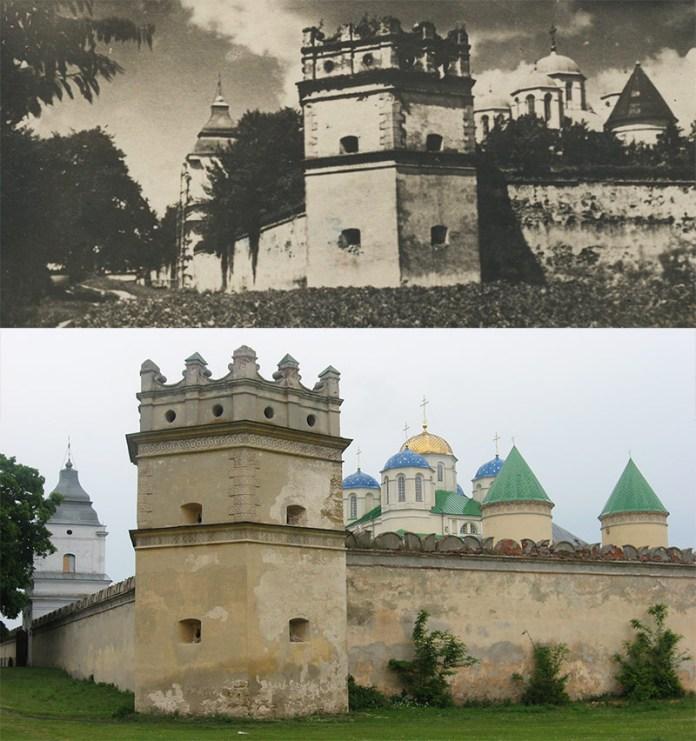 Межиріцький монастир (вигляд з півдня), 1930 рік. Нижнє фото — сучасний вигляд