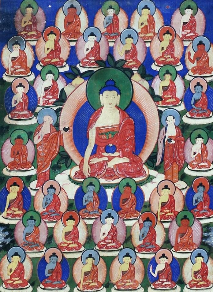 Тридцять пять Будд покаяння (в центрі Будда Шак'ямуні з учнями Шаріпутрою і Маудгальяяною) Бурятія, XIX ст. полотно