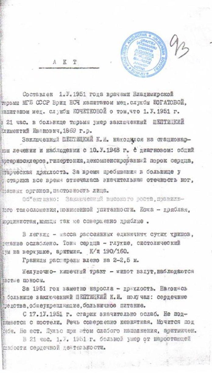 Акт про смерть архимандрита Климентія Шептицького