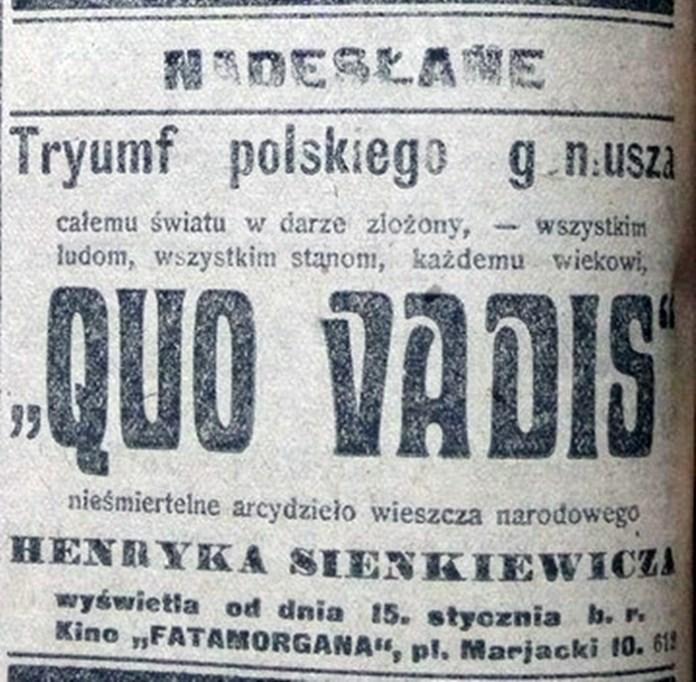 """Реклама фільму """"Quo vadis"""" у кінотеатрі """"Фатаморгана"""", газета """"Kurjer Lwowski"""", 13 січня 1918 року"""