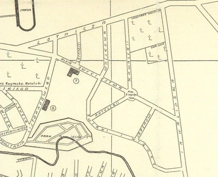 Фрагмент карти Луцька 1939 з офіцерською колонією