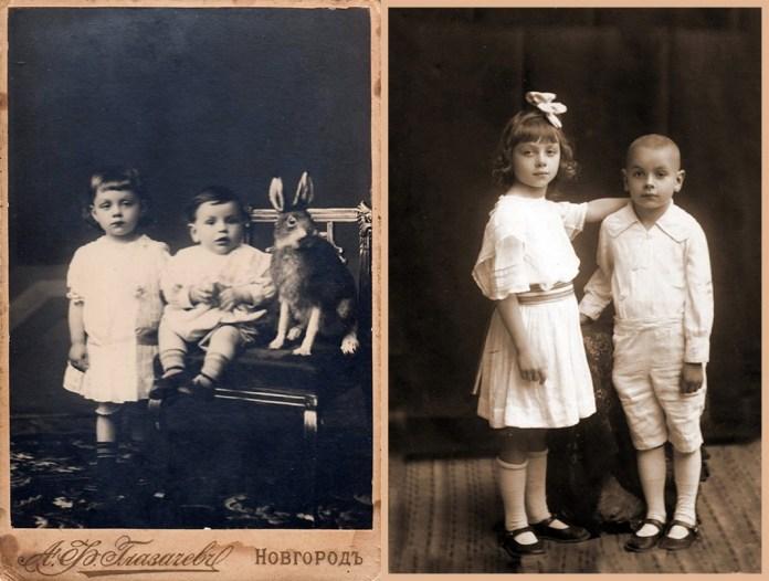 Зліва - фото Капітоліни з братом Володею в Новгороді, 1916 р. Справа - вони ж у салоні Гаско, Рівне, 1920-і рр.