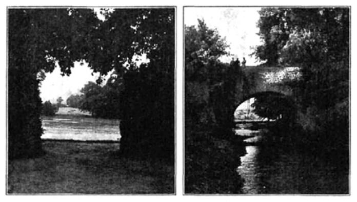 """Види Шпанівського парку. Ліворуч """"вікно"""" – вид на став, праворуч кам'яний міст, фото 1938 року"""