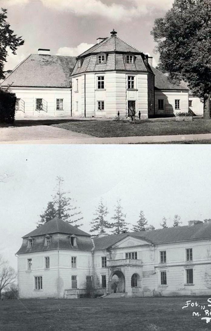 Угорі будівля колишньої броварні (потім порцелянової мануфактури) у Неборові. внизу – офіцина в Шпанові. Схожі не лише дах. а й вікна і облицювання стін
