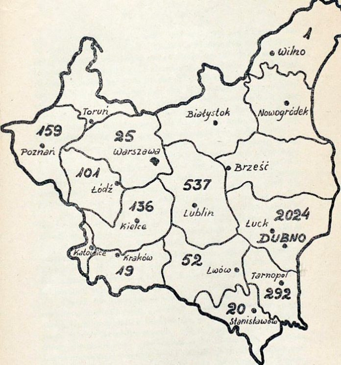 Мапа виробництва хмелю в ІІ Речі Посполитій, 1930-ті роки. Число означає кількість гектарів засаджених хмелем