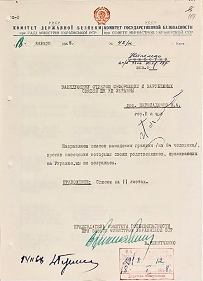 Типовий дозвіл КДБ на відвідування іноземними туристами УРСР, 1968 (ГДА СБУ)