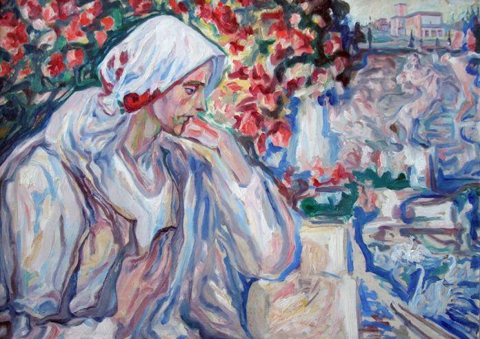 04.Олекса Новаківський. «У задумі» (Портрет дружини художника), початок 1930-х рр.