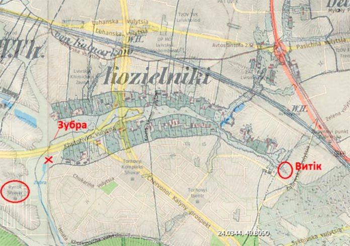 Русло Зубри на старій карті