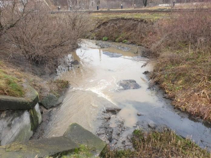 Права гілка зі сторони Левандівського моста. Світла це дощова вода, чорна – фекальна каналізація.