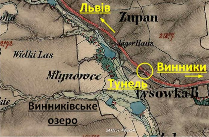 Дорога на Винники і потік що живив озеро на карті 19 століття