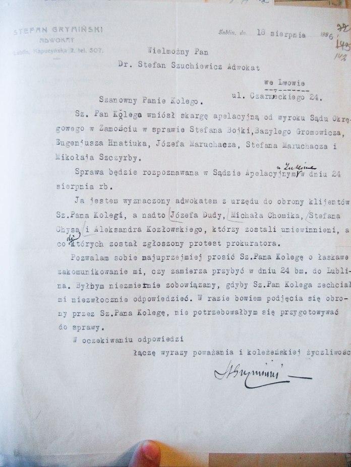 Лист до Шухевича в справі апеляції, 1926