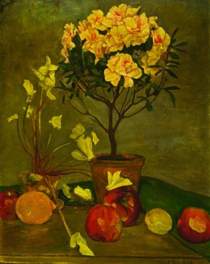 Степан Луцик. Азалія, цикламени і фрукти, 1929