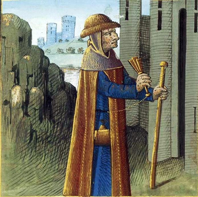 Прокажений. Мініатюра з французького видання трактату «Про властивості речей» Бартоломея Англійського. XV століття