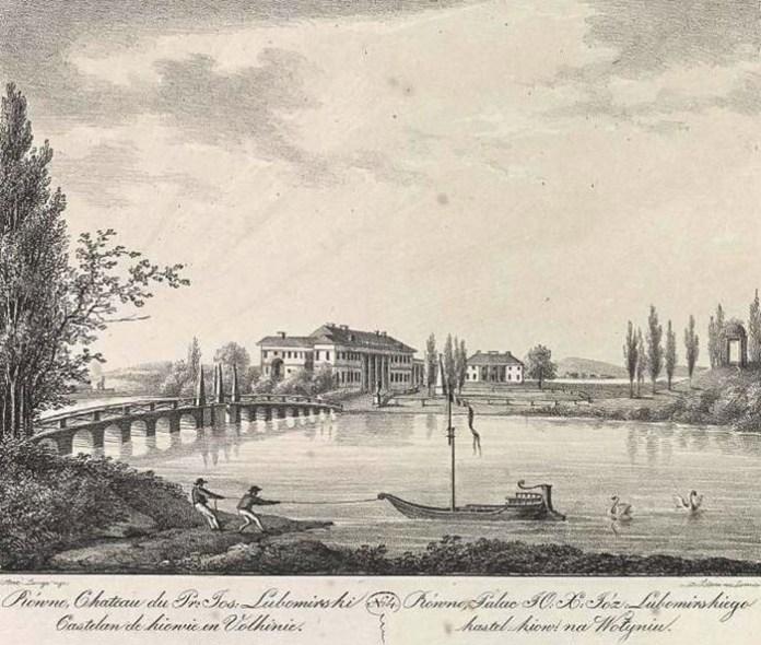 Літографія А. Лянге, рівненський палац, кінець-XVIII cт.