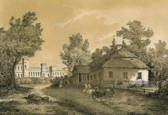 Родинний дім Косцюшків на Меречовщині, малюнок Наполена Орди