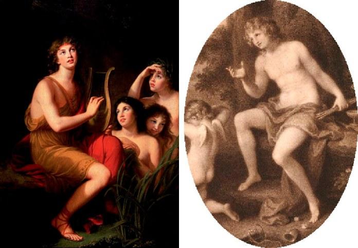 """Ліворуч: Елізабет віже-Лебрен """"Портрет принца Генрика в Амфіоні""""; праворуч: Ангеліка Кауффманн """"Амур і Ганімед"""""""