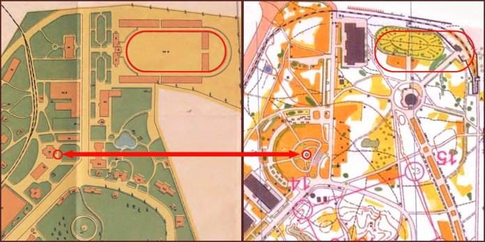План Крайової Виставки 1894 р. і карта зі спортивного орієнтування 2000 р.
