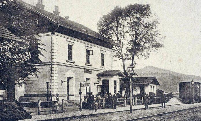 Станція Гребенів на залізниці Стрий – Мукачево. Листівка початку ХХ століття