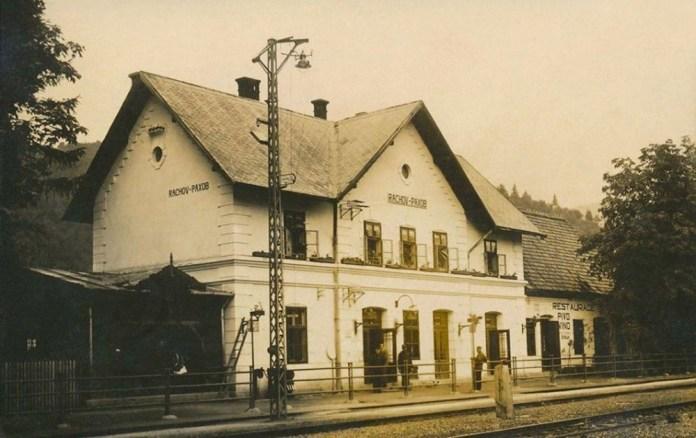 Залізничний вокзал у Рахові. Світлина 1935 р.