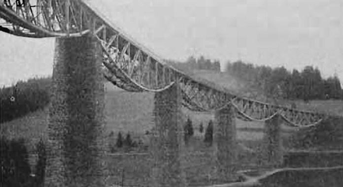 Відновлений віадук «Опір» на залізниці Стрий – Бескид. 1925 р.