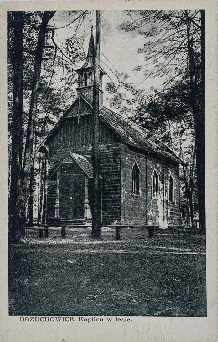 Брюховичі, капличка в лісі. Поштівка 1927 року
