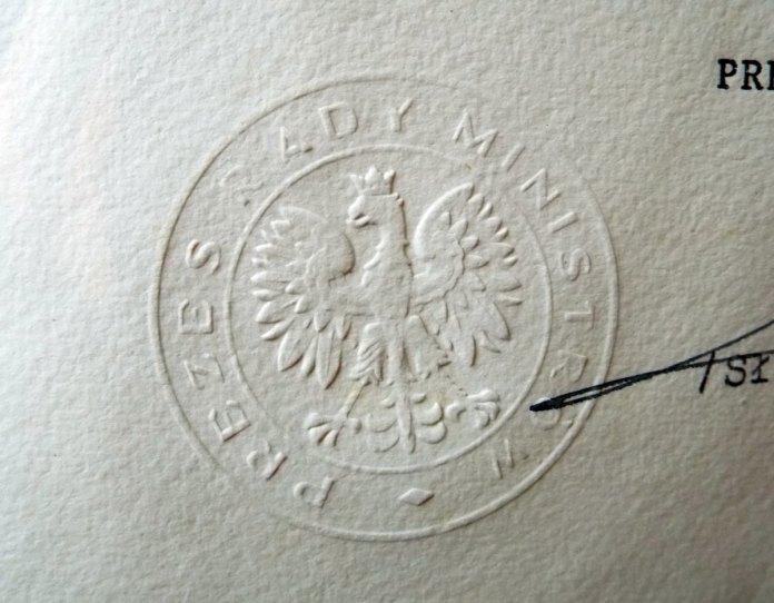Печатка глави Ради міністрів Польщі на дипломі