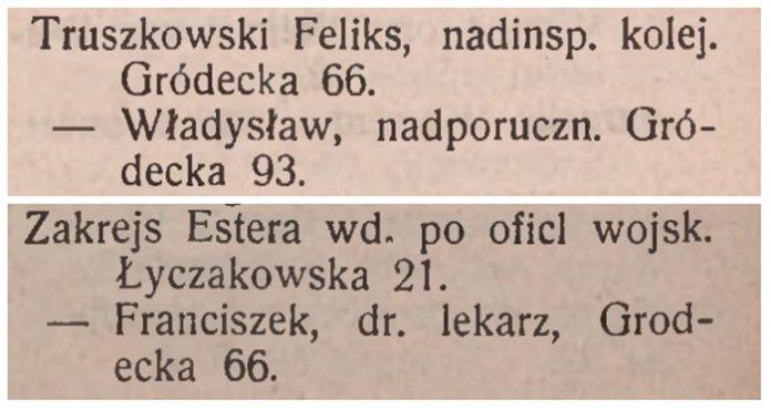 """Скріншот з """"Адресної книги Львова 1913 року"""""""
