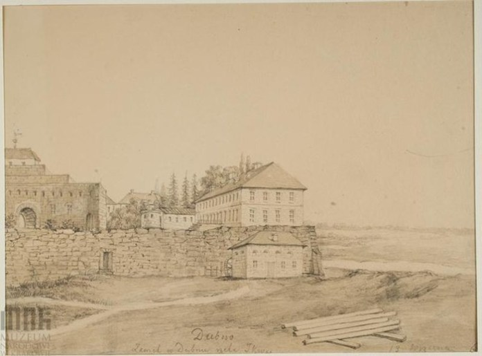 Унікальний малюнок. Дубно, вид на фортецю і палац Острозьких-Любомирських