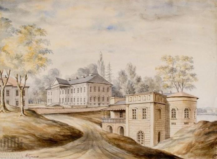 Палацовий комплекс у Млинові. Праворуч видно палац, ліворуч – фрагмент офіцини, на передньому плані – так званий Темплум