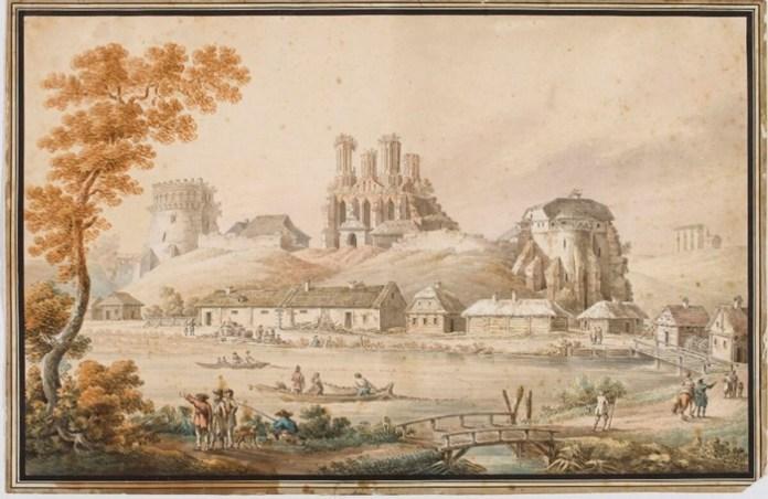 Одне з найдавніших зображень руїн Богоявленського собору. Художник Зигмунд Фогель, 1796 рік