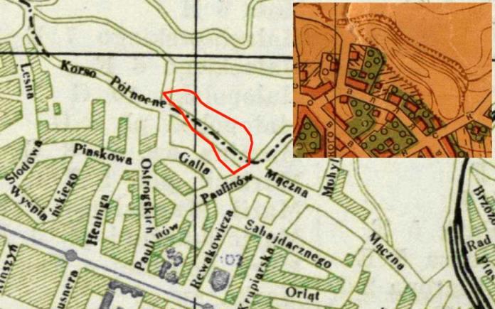 Мапа 1928 року зі вставкою мапи 1947 року