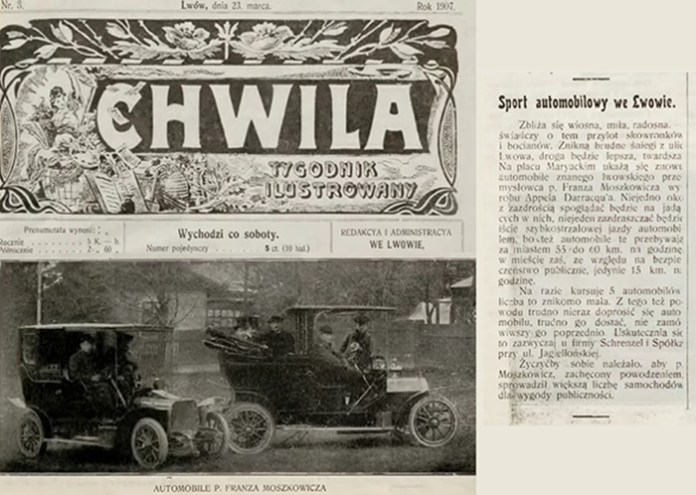 Автомобілі Францішка Мошковіча, з газети Chwila Tygodnik Ilustrowany 23/03/1907 nr. 3 s. 12. 