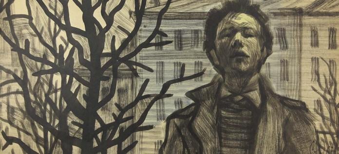 Юрій Скандаков. Автопортрет біля дерев. 1963, папір,акварель