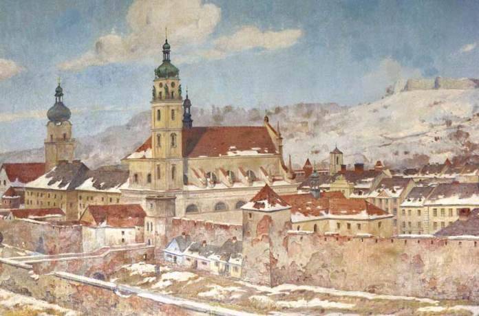 Костел та шпиталь Св. Духа – фрагмент картини Розвадовського-Яновського, 1928 р.