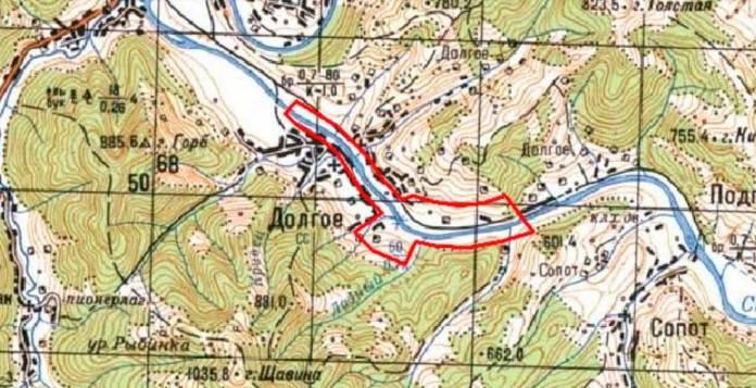 """Потенційна зона затоплення МГЕС по річці Стрий. Карти взято з""""Технічного звіту з топогеодезичних робіт"""""""
